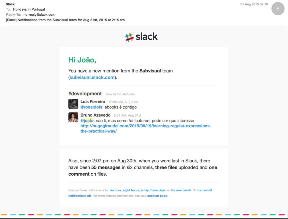 Regular Slack email