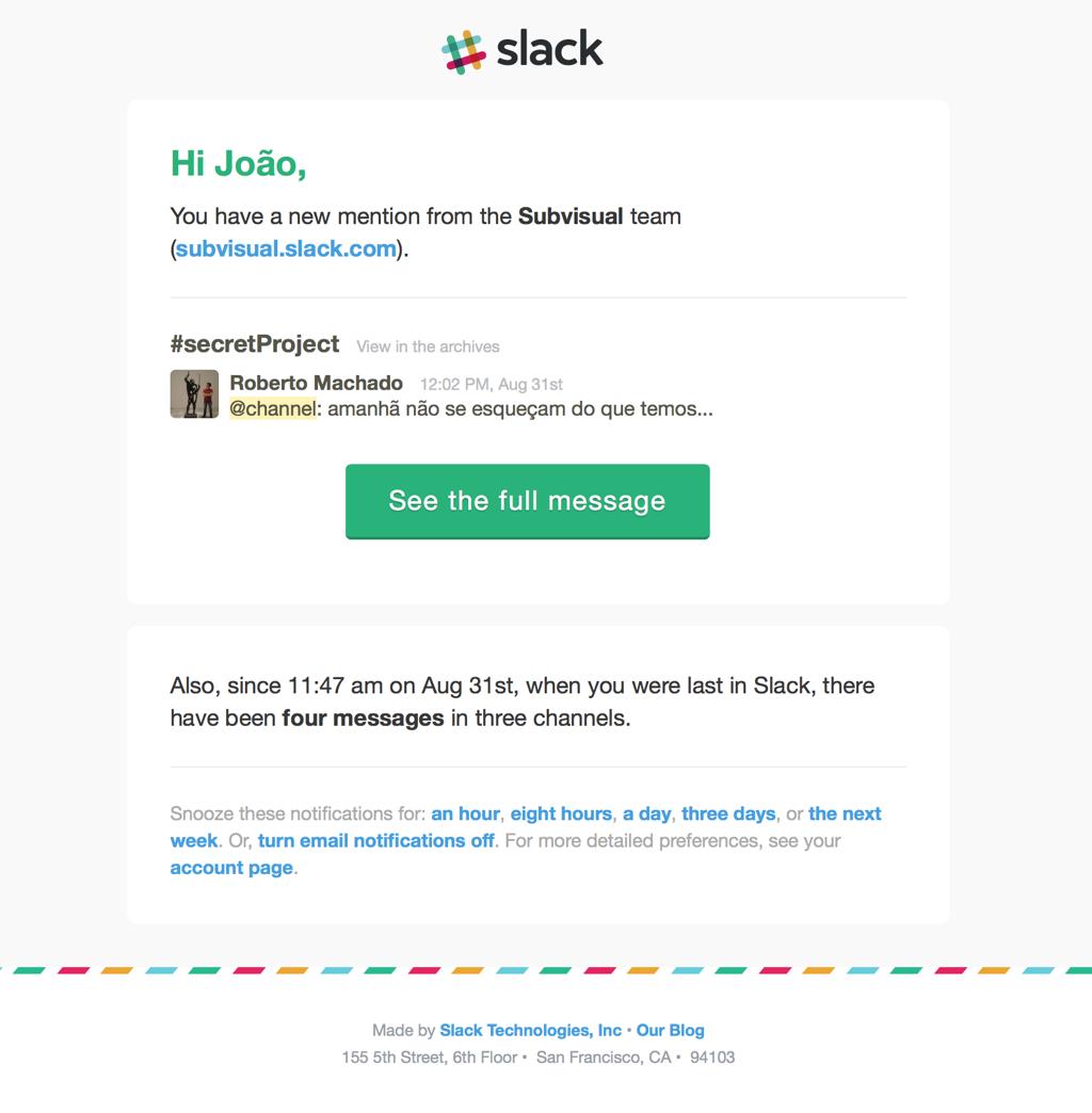 Fake Slack email